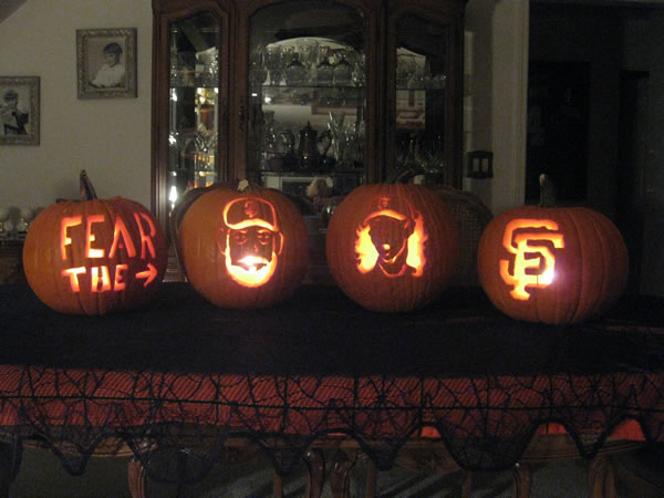 Here are our family pumpkins. Go giants!!!  (Photo submitted by the Calomeni family via uReport)