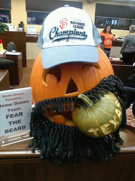 Home grown pumpkin and homemade! Go Giants! From Maria Toimil  (Photo submitted by Erika via uReport)