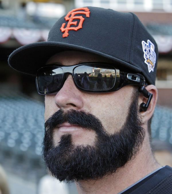 San Francisco Giants' Brian Wilson looks around during practice for Game 1 of baseball's World Series against the Texas Rangers Tuesday, Oct. 26, 2010, in San Francisco. (AP Photo/Eric Risberg)