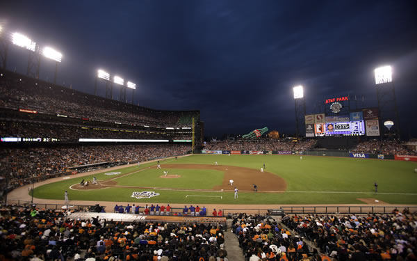 Fans watch during the fifth inning of Game 1 of baseball's World Series between the San Francisco Giants and the Texas Rangers Wednesday, Oct. 27, 2010, in San Francisco. (AP Photo/Eric Risberg)