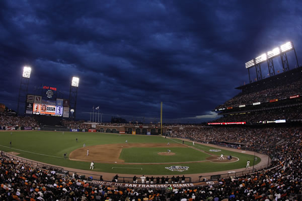 The sky turns blue as the sun sets during the fifth inning of Game 2 of baseball's World Series between the San Francisco Giants and the Texas Rangers Thursday, Oct. 28, 2010, in San Francisco. (AP Photo/Jeff Chiu)