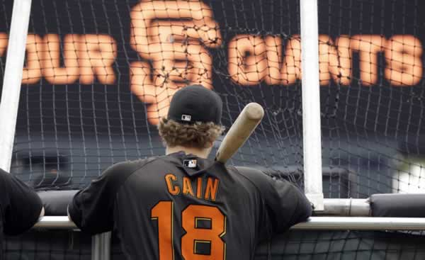 San Francisco Giants' Matt Cain waits to go in the batting cage before Game 2 of baseball's World Series against the Texas Rangers Thursday, Oct. 28, 2010, in San Francisco. (AP Photo/David J. Phillip)