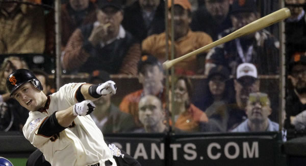 "<div class=""meta ""><span class=""caption-text "">San Francisco Giants' Buster Posey loses his bat during the sixth inning of Game 2 of baseball's World Series against the Texas Rangers Thursday, Oct. 28, 2010, in San Francisco. (AP Photo/Eric Gay)</span></div>"