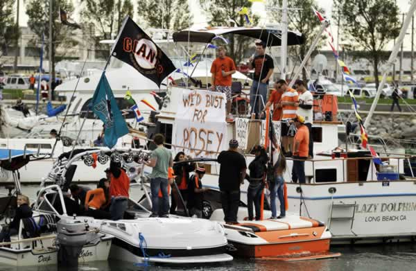 "<div class=""meta ""><span class=""caption-text "">Boats fill McCovey Cove outside AT&T Park before Game 1 of baseball's World Series between the San Francisco Giants and the Texas Rangers Wednesday, Oct. 27, 2010, in San Francisco. (AP Photo/Eric Risberg)</span></div>"