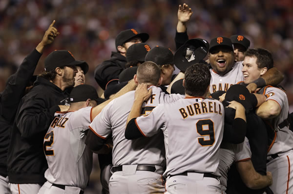 "<div class=""meta ""><span class=""caption-text "">San Francisco Giants' celebrate after winning baseball's World Series against the Texas Rangers Monday, Nov. 1, 2010, in Arlington, Texas. The Giants won 3-1 to capture the World Series. (AP Photo/David J. Phillip)</span></div>"