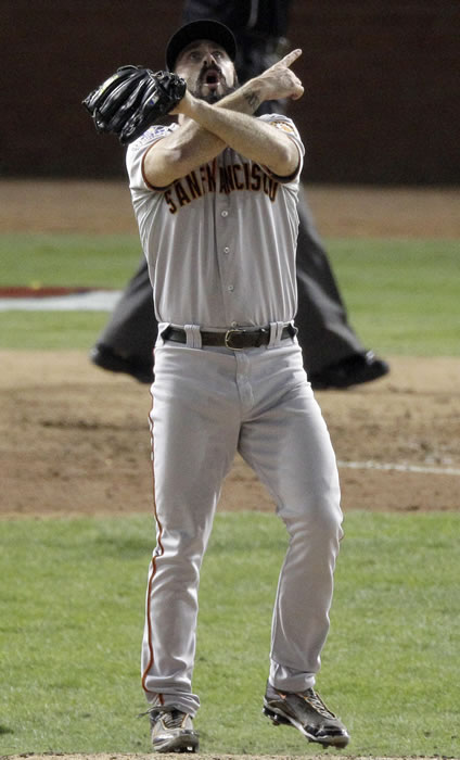 "<div class=""meta ""><span class=""caption-text "">San Francisco Giants' Brian Wilson gestures after winning baseball's World Series against the Texas Rangers 3-1 Monday, Nov. 1, 2010, in Arlington, Texas. (AP Photo/Eric Gay)</span></div>"