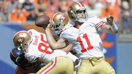 San Francisco 49ers quarterback Alex Smith (11) passes against the Denver Broncos during the second quarter of an NFL preseason football game in Denver, Sunday, Aug. 26, 2012. (AP Photo/Jack Dempsey)