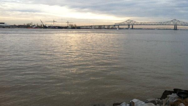The Mississippi as seen from New Orleans the Monday after the Super Bowl.