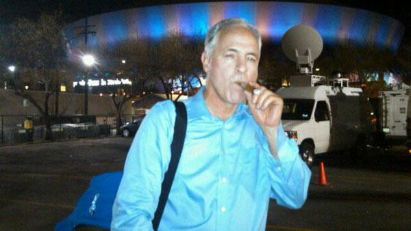 Despite the 49ers loss in Super Bowl XLVII, ABC7 sports anchor, and former 49ers receiver, Mike Shumann seeks comfort with a cigar outside of the Superdome in New Orleans.