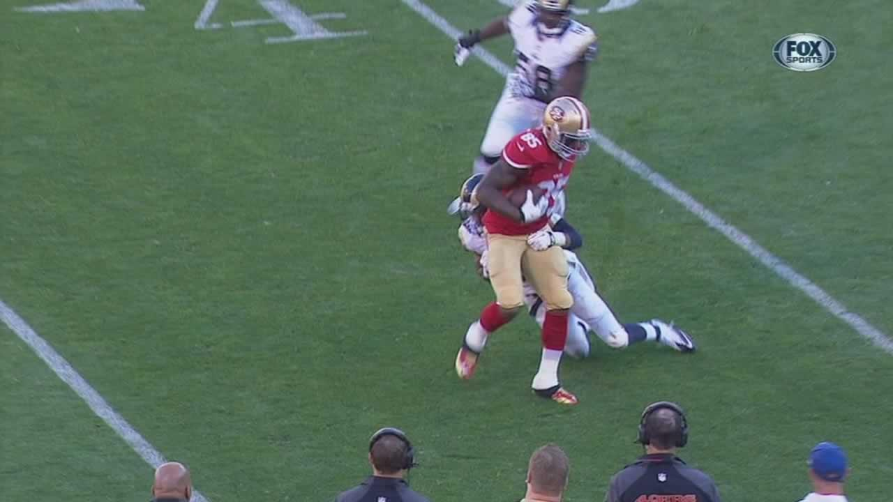 49ers tight end Vernon Davis was on the receiving end of a rough tackle during Sundays game against the St. Louis Rams.