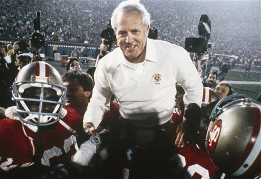 Bill Walsh: San Francisco 49ers Head Coach BillWalsh gets a lift on the shoulders of his players after the 49ers defeated the Miami Dolphins to win Super Bowl XIX in 1985.  <span class=meta>(AP Photo)</span>