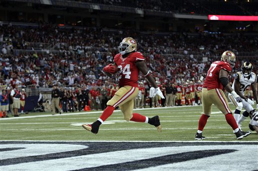 San Francisco 49ers running back Anthony Dixon steps into the end zone on a 1-yard touchdown run during the fourth quarter of an NFL football game against the St. Louis Rams Thursday, Sept. 26, 2013, in St. Louis.  <span class=meta>(AP Photo&#47;Tom Gannam)</span>