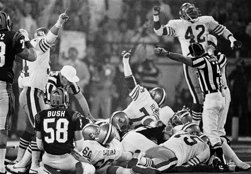 "<div class=""meta ""><span class=""caption-text "">Football Game Super Bowl XVI 1982 San Francisco vs Cincinnati: Cincinnati Bengals center Blair Bush (58), left, watches as the SanFrancisco 49ers react to their stopping   a Bengals drive within the one-yard-line during second half action of SuperBowl XVI on Sunday, Jan. 24,   1982 in Pontiac Silverdome. (AP Photo)</span></div>"