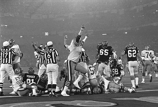 SUPERBOWL XVI: San Francisco 49ers celebrate their third quarter goal line stance that stopped a Cincinnati Bengals   scoring threat from within the one-yard-line, on a fourth down situation, during Super Bowl XVI in   Pontiac, Mich., January 25, 1982. The 49ers went on the beat the Bengals, 26-21. <span class=meta>(AP Photo&#47;Lennox   McClendon)</span>