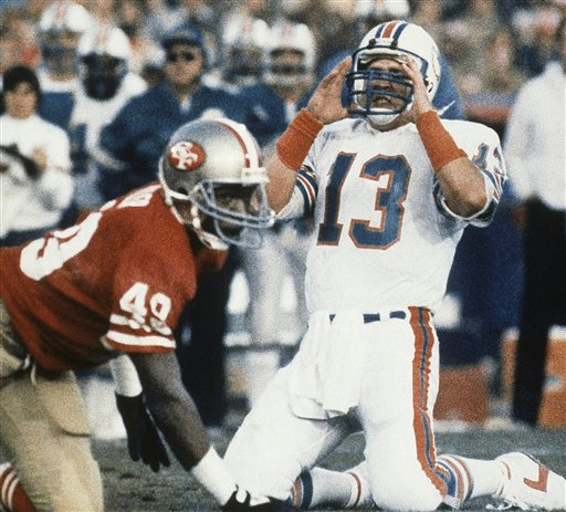 Super Bowl XIX Dan Marino Jeff Fuller: Miami Dolphins quarterback Dan Marino &#40;13&#41; puts his hands to his head after a first half pass went incomplete in SuperBowl XIX against the SanFrancisco 49ers on Sunday, Jan. 20, 1985 in Stanford Stadium. Niners safety Jeff Fuller &#40;49&#41; brought Marino down. <span class=meta>(AP Photo)</span>