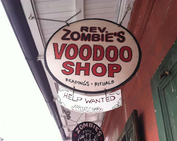@WayneFreedman gets a Super Bowl prediction at Rev. Zombie's Voodoo Shop!