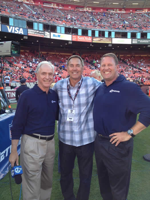 Mike Shuman, Dwight Clark and Brent Jones.  It&#39;s 49ers day all day at ABC7 News. Check out behind the scenes photos! <span class=meta>(KGO)</span>