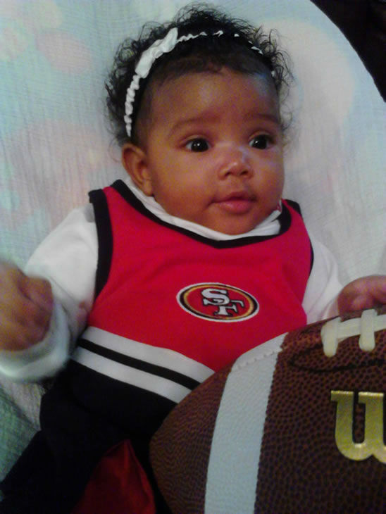 Hello my name is ALAIA CARRINGTON and my mommie and daddy are faithful 49er fans....  <span class=meta>(Submitted via uReport)</span>