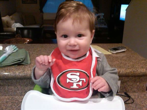 "<div class=""meta ""><span class=""caption-text "">Brayden Tomlin, age 7 months, a 49er fan along with his mom and dad and grandparents. (Submitted via uReport)</span></div>"