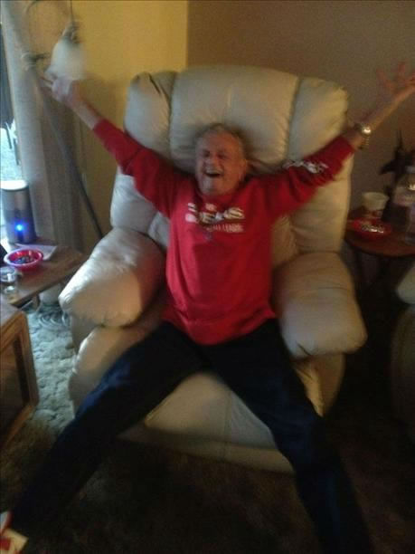 Grandpa has been a die hard 49er fan for years. He is 88 years old. Had to bring out the oxygen for the end of the game there.. thought we were going to need to use it. ;&#41; This picture shows how happy he was :&#41; <span class=meta>(Anonymous)</span>