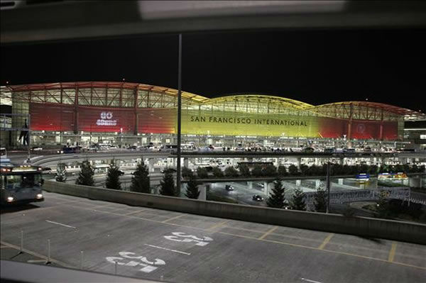 SFO in red and gold  <span class=meta>(Submitted by Lorrie O&#39;Connor via uReport)</span>
