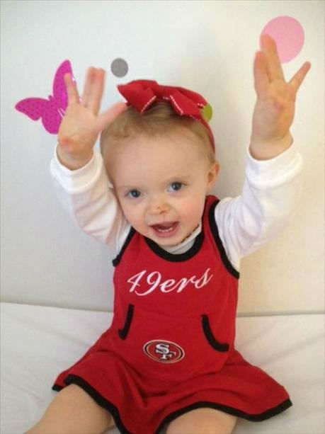 "<div class=""meta image-caption""><div class=""origin-logo origin-image ""><span></span></div><span class=""caption-text"">One year old Ryleigh is a big 49ers fan and hopes they get lots of touchdowns on Sunday against the Giants.  (Photo submitted via uReport)</span></div>"