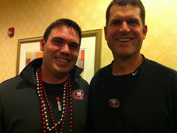 Photo submitted via uReport. 49ers fan Michael with Jim Harbaugh in New Orleans. Are you a 49ers fan? Send us a photo or video of your 49ers spirit to uReport@kgo-tv.com and we'll post it here: http://bit.ly/WxySUx.