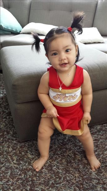 "<div class=""meta image-caption""><div class=""origin-logo origin-image ""><span></span></div><span class=""caption-text"">49ers fan Khaleesi Caylen in her cheerleader outfit. Photo submitted via uReport by anonymous user.</span></div>"