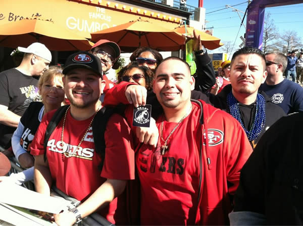 49ers fans in New Orleans hanging out by ESPN