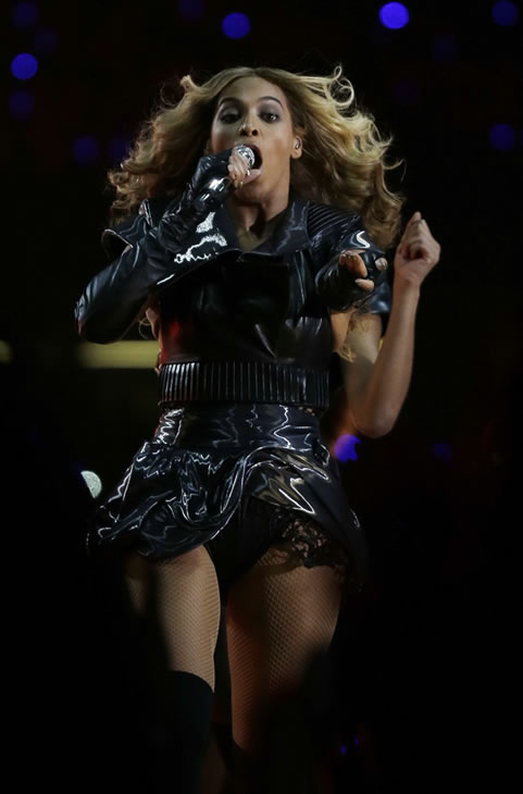 Beyonce performs during the halftime show of the...