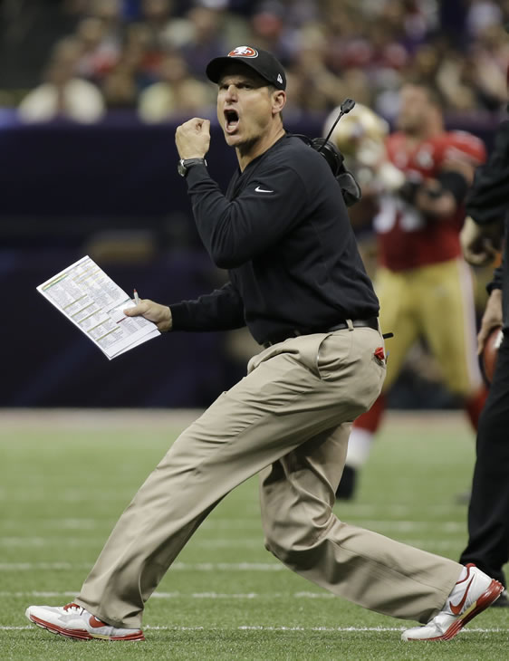 San Francisco 49ers head coach Jim Harbaugh reacts to a play during the first half of the NFL Super Bowl XLVII football game against the Baltimore Ravens, Sunday, Feb. 3, 2013, in New Orleans.