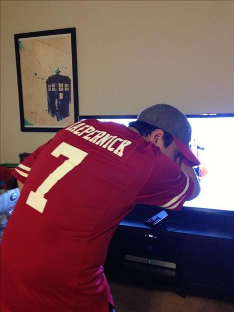 "<div class=""meta ""><span class=""caption-text "">""Kaepernicking"" (Photo submitted by Mike via uReport)</span></div>"