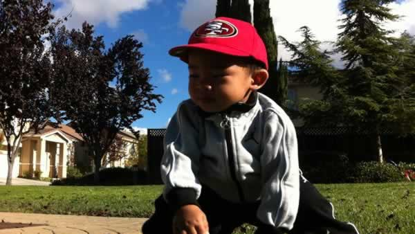 1-year-old in his 3-point stance (Submittedby via uReport)