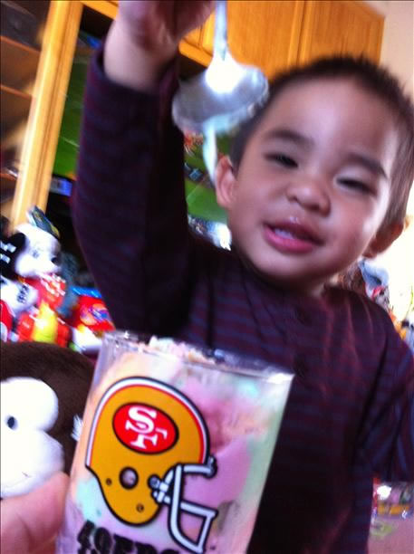 1-year-old son eating sherbet from his 49ers cup while watching the 49ers game (Photo submitted via uReport)