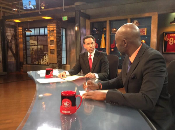 Sports Director Larry Beil and 49ers legend Jerry Rice in the ABC7 News studio. <span class=meta>(KGO)</span>