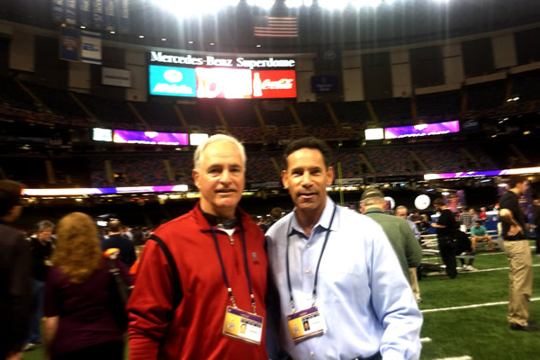 ABC7's Larry Beil and Mike shumann getting ready for media day.