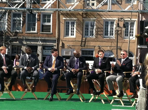 The ESPN crew on the set with 49er greats Steve Young and Jerry Rice <span class=meta>(KGO photo)</span>