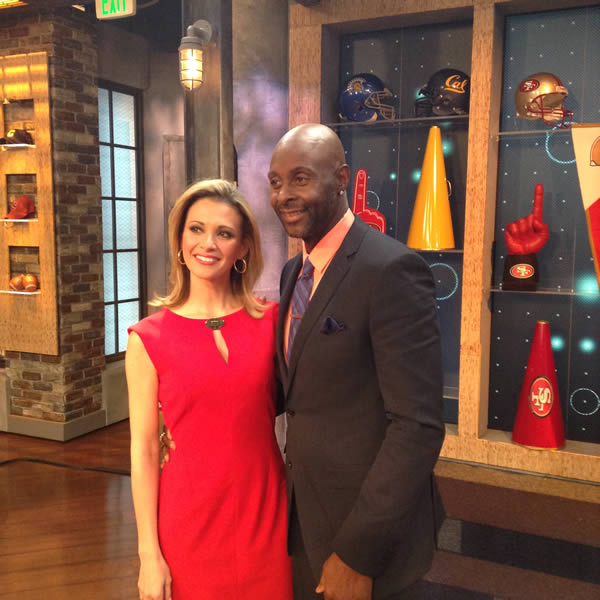 Leyla Gulen and 49ers legend Jerry Rice pose for a photo in the ABC7 News studio. <span class=meta>(KGO)</span>
