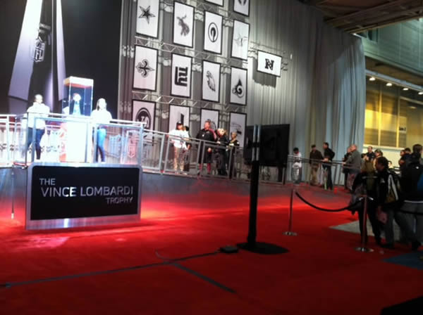 People waiting in line to take a picture with Vince Lombardi Trophy at NFL Experience.  Follow @KatieABC7 for the latest Super Bowl updates.  <span class=meta>(KGO)</span>