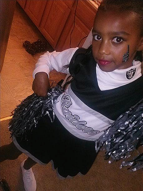 Leiloni Altamirano, 7, from Alameda CA. Photo submitted by Proudmommy05 via uReport  (Are you a Raiders fan? Send us a photo or video of your Raiders spirit to uReport@kgo-tv.com and we'll post it here: http://bit.ly/WxySUx.)