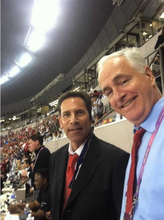 Larry Beil and Mike Shumann of the ABC7 Sports Team pose at the Superdome in New Orleans following Super Bowl XLVII in New Orleans.