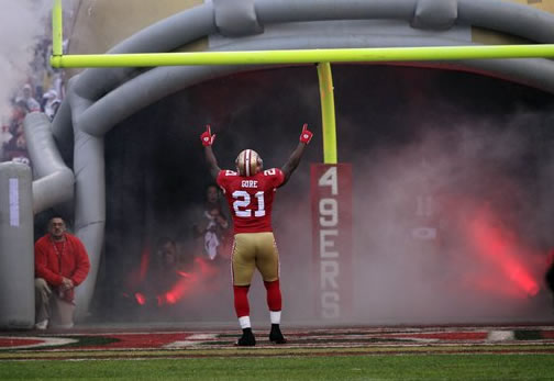 San Francisco 49ers running back Frank Gore (21) is seen before the NFC Championship NFL football game Sunday, Jan. 22, 2012, in San Francisco. (AP Photo/Marcio Jose Sanchez)