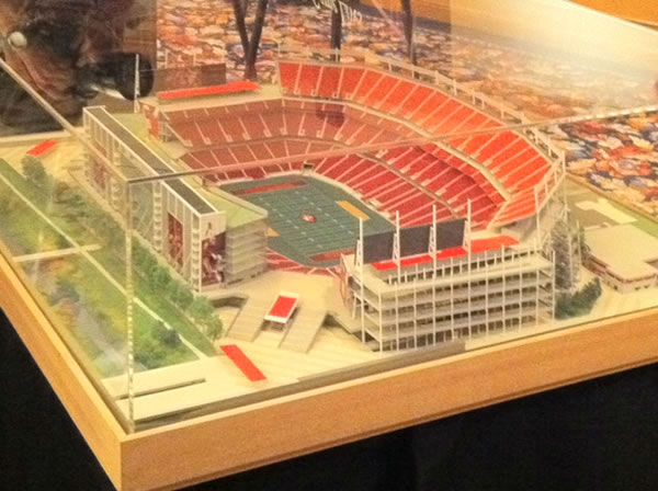 The architectural firm designing the new 49er stadium in Santa Clara revealed detailed drawings and animation of its vision for what it calls &#34;an outdoor entertainment venue.&#34; <span class=meta>(David Louie&#47;ABC7)</span>