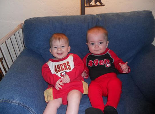 The 49er Twins! JC and JP are 49er fans and ready for the game! (Photo submitted by Pims via uReport)