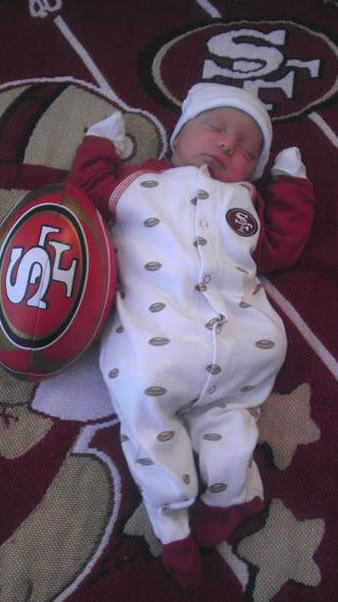 "<div class=""meta image-caption""><div class=""origin-logo origin-image ""><span></span></div><span class=""caption-text"">Baby Drake born just in time for the 49ers return to the playoffs. (Photo submitted via uReport)</span></div>"