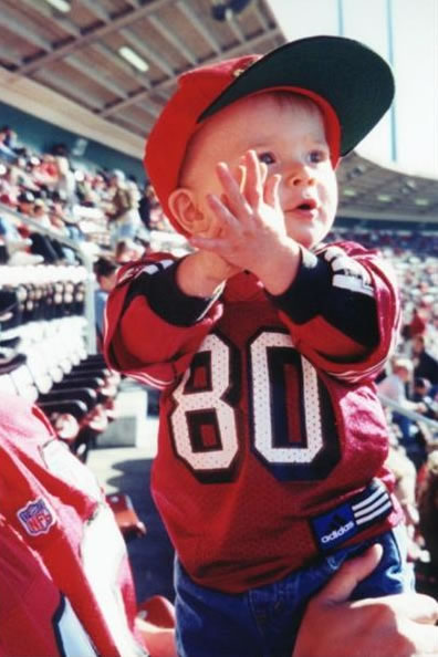 "<div class=""meta image-caption""><div class=""origin-logo origin-image ""><span></span></div><span class=""caption-text"">Devin at his first of many 49er Games!!!!! (Photo submitted by Stacy Rowe via uReport)</span></div>"