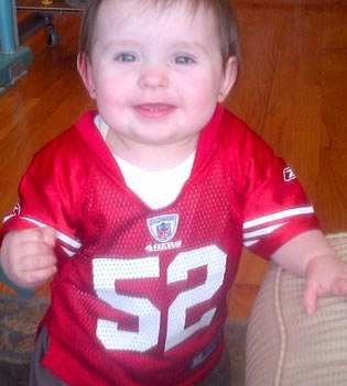"<div class=""meta ""><span class=""caption-text "">Starting out early... NINERS!! San Francisco native, ready for my first Super Bowl! Let's go 9ers!! (Photo submitted by Mrs.0229 via uReport)</span></div>"