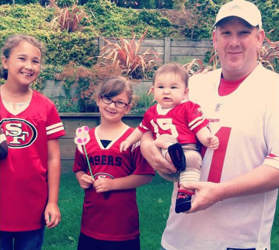 "<div class=""meta ""><span class=""caption-text "">The Butler family from San Carlos. My husband makes the kids dress like this every Sunday ""or else the 49ers will lose!!"" (they all secretly love it.) (Photo submitted via uReport)</span></div>"