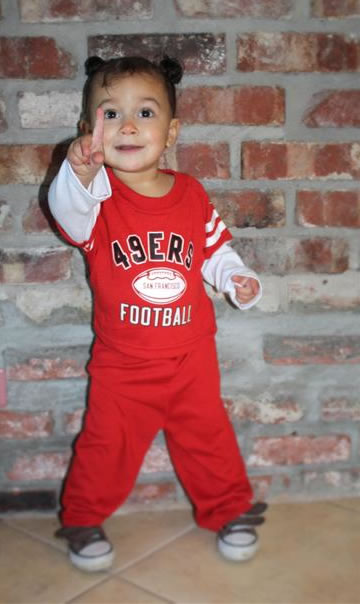 "<div class=""meta image-caption""><div class=""origin-logo origin-image ""><span></span></div><span class=""caption-text"">Team Spirit! Juliana is 17 months old. Born and raised Niner fan! (Photo submitted by MzNiner via uReport)</span></div>"