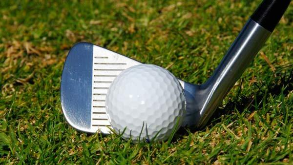 The ball looks large compared with the face of the 7 iron.
